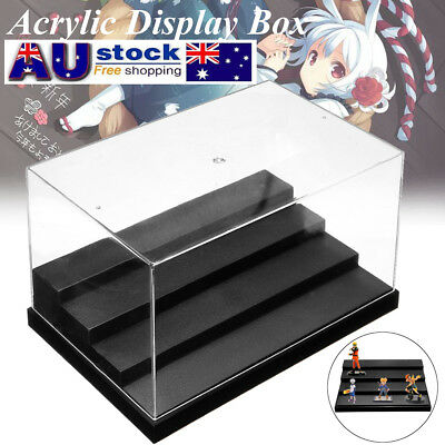 2PCS 4 Step Acrylic Display Case Clear UV Plastic Box Dustproof Toy Protection