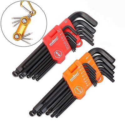 HORUSDY Hex Key Set, 32-Pieces Long Arm Ball End Allen Wrench Set, Inch/Metric