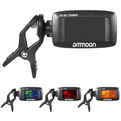 ammoon AT-02 Electric Tuner Clip-on for Guitar Chromatic Bass Ukelele Q6N4