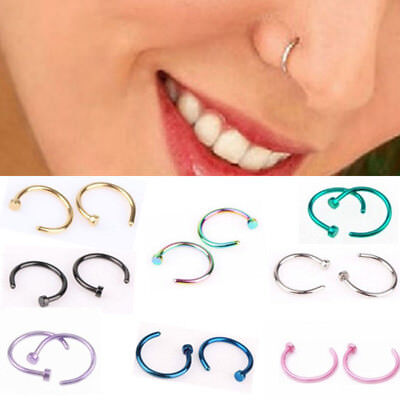 Nose Ring Septum Hanger Fake Clip On Clicker Non Piercing hoops faux body tribal