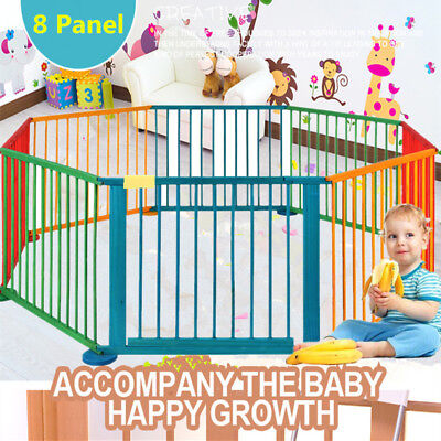8 Panel Foldable Wooden Baby Playpen Child Home Play Pen Yard Fence Room Divider