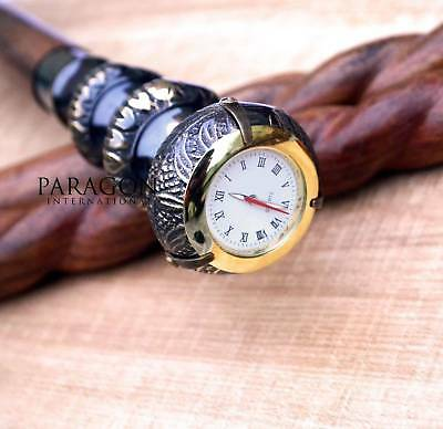 Classic Style Victorian Brass Handle Watch Wooden Spiral Walking Stick Cane gift