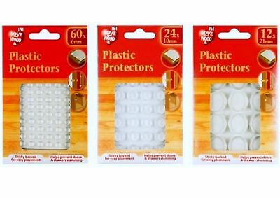 PLASTIC PROTECTORS PADS DOTS SELF ADHESIVE CABINET BUFFERS CUPBOARD,6,10, 21mm
