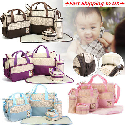 5PCS Maternity Mummy Baby Changing Bag Nappy Diaper Mat Pouch Set Wipe Clean