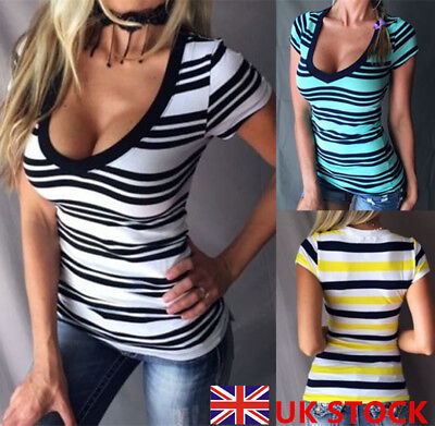 UK Womens Deep V Neck Striped Tops Ladies Summer Casual T Shirt Blouse Size 8-20