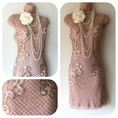 NWT Sequin Embellished Flapper 20's Gatsby Party Dress wedding Evening 8 - 14