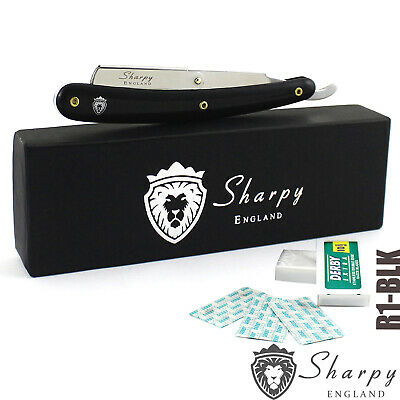SHARPY BLACK BARBER SALON STRAIGHT CUT THROAT WET SHAVING RAZOR & 10 Free blades
