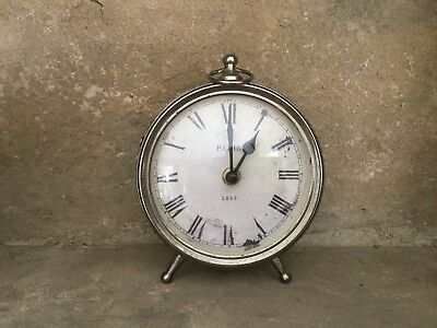 Parlane antique style silver metal battery operated desk clock h17cm