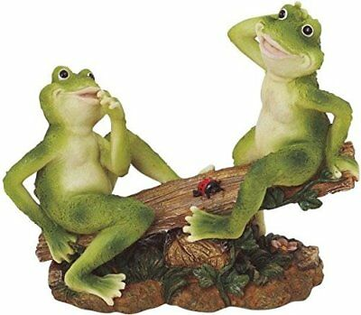 """2 Frogs on Seesaw Garden Decoration Figurine 7"""" Height x 8"""" Width Polyresin New"""