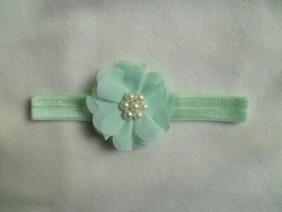 Baby clothes GIRL premature/tiny<7.5lbs/3.4kg mint pad headband special occasion