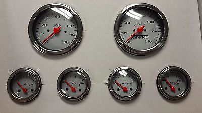 Veethree Silver Classic 6 Gauge Mechanical Speedometer Instrument Kit Ce6719