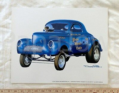 """Stone Woods Cook Cookie1941 Willys Coupe Art Print David Peters '97 11"""" by 14"""""""
