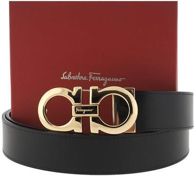 New Salvatore Ferragamo Black Hickory Leather Gold Gancini Logo Buckle Belt