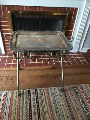 Vintage Friedman Silverplate Serving Tray - Large (30.75 X 19.5) w/Stand
