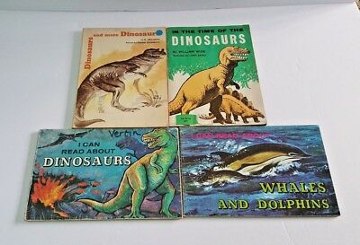 Lot of Vintage 1970's Children's Books About Dinosaurs & Dolphins Paperbacks