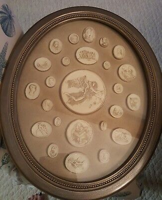 27 Grand Tour Cameos intaglios Gems Medallions plaster Framed and hand finished