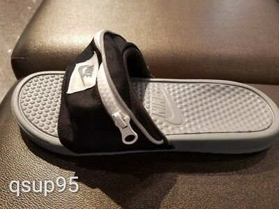 76f5851e6884 Nike Benassi JDI Fanny Pack Slide Black White Cool Grey AO1037-001 Men s Sz  4