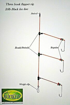 4 X Three hook flapper sea fishing rig' made with 6/0 hook'