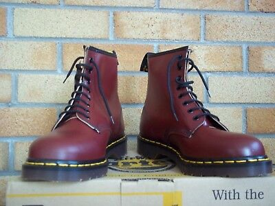VINTAGE 1970s  CHERRY RED DR MARTENS SIZE 8 BOOTS 1460 MADE IN ENGLAND