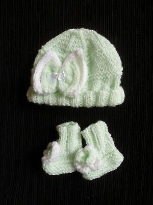 Baby clothes GIRL newborn 0-1m white/green knitted hat/bootees bows SEE SHOP!