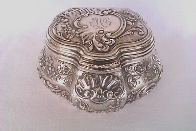 Rare & Beautifully Embossed 950 Solid Silver French Minerva Jewellery Box c1879