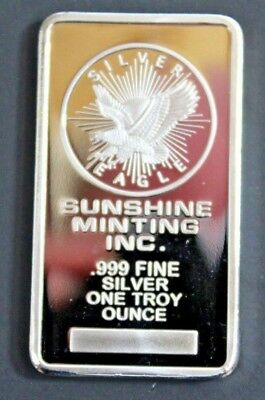 Sunshine Minting Inc. 1 Troy Ounce .999 Fine Silver Bar - MADE IN USA