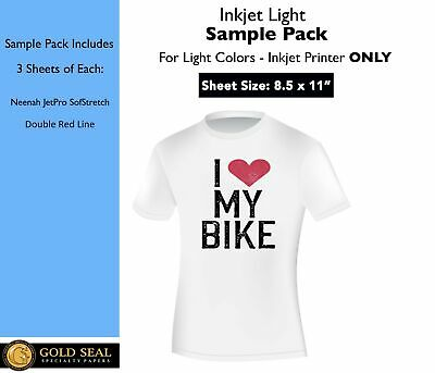 *Sample Pack* Inkjet Iron On Heat Transfer Paper for Light Colors 8.5 x 11