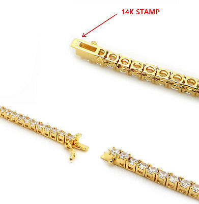 Men's Tennis Chain Necklace 14K Gold Stamp Solitaire Lab Diamond Hand Made
