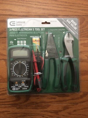 Commercial Electric 3-Piece Electrician's Tool Set *New/Sealed*
