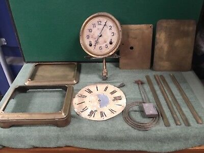 Antique Vintage Brass Clock Movement Parts - Spares / Repairs