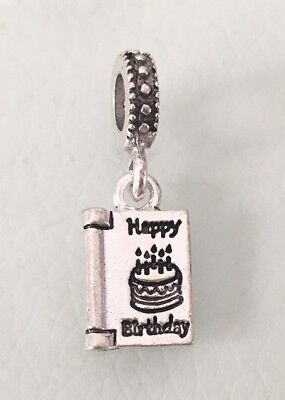 Happy Birthday Card Pendant Charm For Bracelets Silver Plated