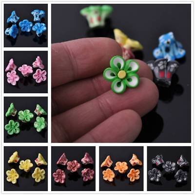 New Findings DIY 15X10mm Polymer Clay Flower Loose Spacer Beads Multi-Color