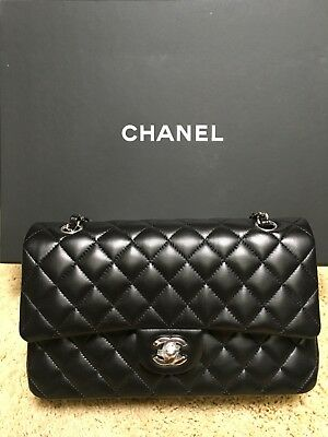 cffa894d8190 Authentic 2018 CHANEL Black silver HW 2.55 Medium Classic Double Flap Bag