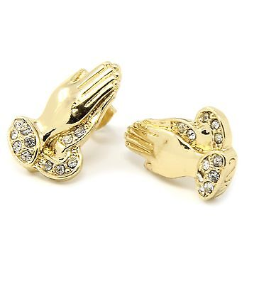 Mens Gold Plated Iced Out Prayer Hands Hip Hop Stud Bling Earrings E11