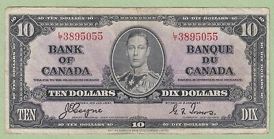 1937 Bank of Canada 10 Dollar Note - Coyne/Towers - L/T3895055 - Fine