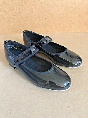 THEATRICALS Black Patent Leather Tap Shoes Girl's Size 10-1/2 Medium