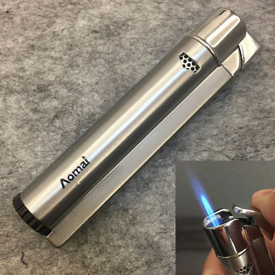 AOMAI Windproof Jet Torch Refillable Butane Flame Cigar Cigarette Lighter Silver