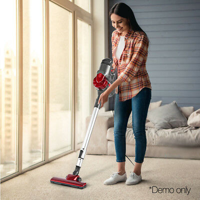 Devanti Corded Handheld Stick Vacuum Cleaner Bagless Silver Red Home Cleaner