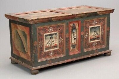 Antique Continental Painted Blanket Chest   Tack Trunk   Coffee Table   18th c.