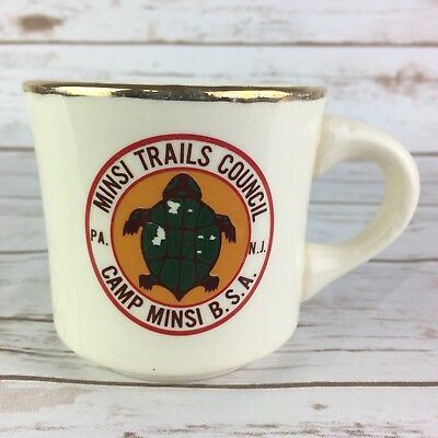 Vtg BSA Boy Scouts of America Mug Minsi Trails Council Camp PA NJ USA Cup