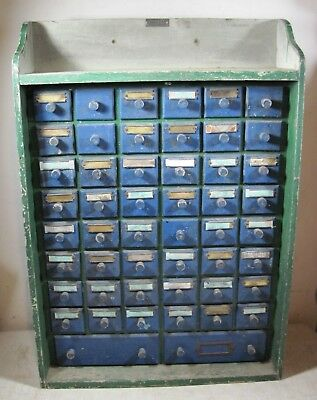 Vintage 1957 Handmade 1 Of A Kind 50 Drawers Cabinet Small Parts Automotive