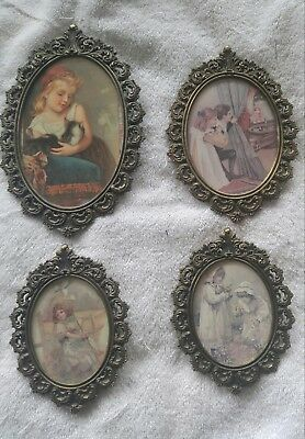4 italy brass picture frames ornate vintage