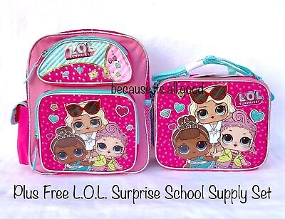 """L.O.L. Surprise Doll Small 12"""" Backpack Book Bag Lunchbox School Supplies LOL"""