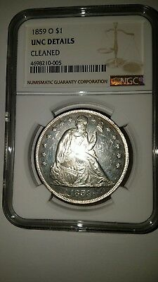1859-O $1 Seated Liberty Dollar - NGC UNC DETAILS CLEANED