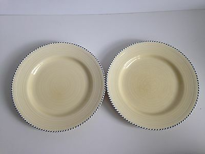 2 x Crown Ducal AGR Plates Yellow Sandy with Blue Rim Vintage Retro