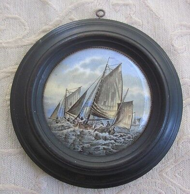 antique PRATT WARE POT LID Hauling in the Trawl 1860s issue wooden FRAME
