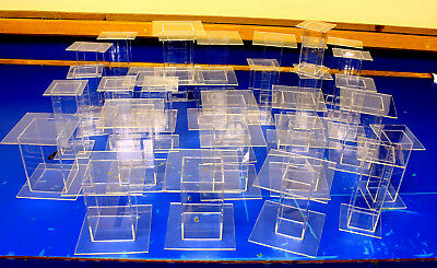 27 Lot Clear Acrylic Pedestal Display Risers Mixed Sizes