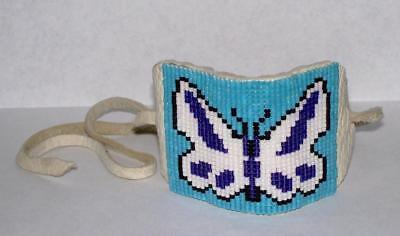 Vintage Native American Beaded Butterfly Hair Tie/Pull Barrette on Leather