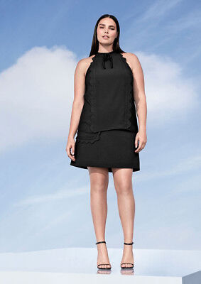 56ab67f194252 VICTORIA BECKHAM TARGET Black High Neck Scallop Trim Tank Top Blouse ...