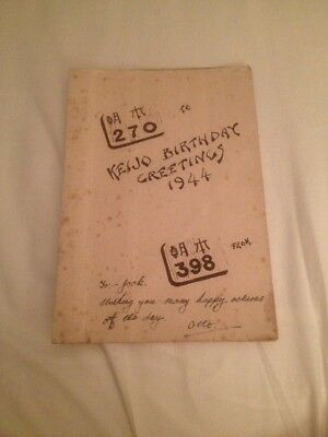JAPANESE POW BIRTHDAY Card Made By Prisoner In Keijo Camp 1944